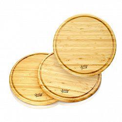 Klarstein 3dílná souprava, bambusové snídaňové desky, kulaté 25 x 1,6 cm (ØxV), snadná údržba