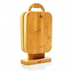 Klarstein 6 dílná souprava bambusových snídaňových desek se stojanem, 22 x 0,9 x 16 cm (Š x V x H), snadná údržba