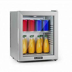 Klarstein Brooklyn 24 Silver, mini chladnička, energetická třída A, skleněné dveře, LED, police, stříbrná