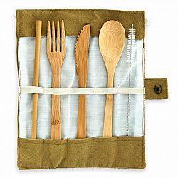 Klarstein Cestovní příbor, v hnědém obalu, 5dílná sada, srolovatelná, bambus