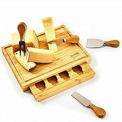 Klarstein Deska na sýr se zásuvkou na nože, 25,2 x 3 x 19,5 cm (Š x V x H), 4 speciální nože, jednoduchá údržba