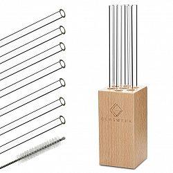 Klarstein Glaswerk Salizzada, skleněná brčka, 7 kusů, 0,8 x 20 cm (Ø x V), dřevěný držák, kartáček