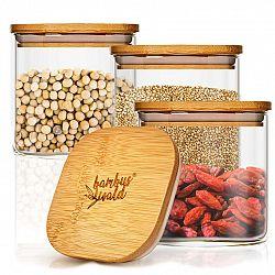 Klarstein Hranatá nádoba na skladování potravin, s bambusovými víkem, vzduchotěsná, se silikonovým těsněním, 10 x 10 x 10 cm, 3 x 700 ml