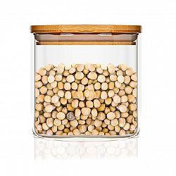 Klarstein Hranatá nádoba s bambusovým víkem na skladování potravin, vzduchotěsná, se silikonovým těsněním, 10 × 10 × 10 cm, 700 ml