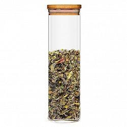 Klarstein Hranatá nádoba s bambusovým víkem na skladování potravin, vzduchotěsná, se silikonovým těsněním, 10 × 20,5 × 10 cm
