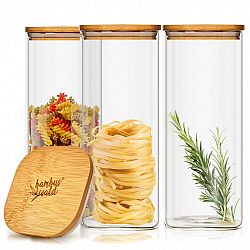 Klarstein Hranatá nádoba s bambusovým víkem na skladování potravin, vzduchotěsná, se silikonovým těsněním, 10 × 20,5 × 10 cm, 3 × 1500 ml