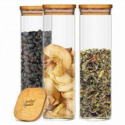 Klarstein Hranatá nádoba s bambusovým víkem na skladování potravin, vzduchotěsná, se silikonovým těsněním, 10 × 25 × 10 cm, 3 × 2000 ml