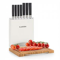 Klarstein Kitano Plus, sada nožů, 9 dílná sada, dřevěný stojan, bambusová krájecí deska, bílá