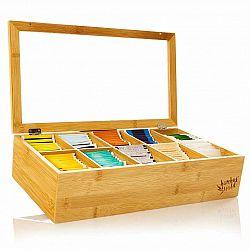 Klarstein Krabička na čaj, 10 složky, 150 čajových sáčků, průhledné plastové okénko