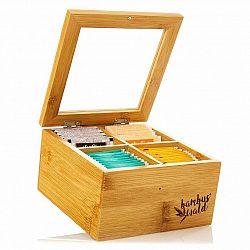 Klarstein Krabička na čaj, 4 složky, 60 čajových sáčků, průhledné plastové okénko