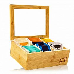 Klarstein Krabička na čaj, 6 složky, 90 čajových sáčků, průhledné plastové okénko