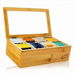 Klarstein Krabička na čaj, 8 složky, 120 čajových sáčků, průhledné plastové okénko
