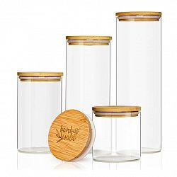 Klarstein Kulatá nádoba na skladování potravin s bambusovým víčkem, sada 4 ks, obsahuje: 600 ml, 1000 ml, 1500 ml, 1800 ml, sada 4 ks, obsahuje: 600 ml, 1000 ml, 1500 ml, 1800 ml