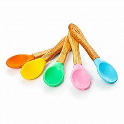 Klarstein Sada 5 kusů dětských lžiček, rukojeť: bambus, konec lžičky: barevný silikon