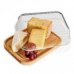 Klarstein Skleněná dóza na sýr, bambusové dno, vzduchotěsná, neovlivňuje chuť, vhodná do myčky