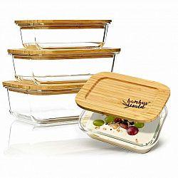 Klarstein Souprava hranatých dóz na skladování potravin, sklo, bambusové víčko, 4 kusy, různé velikosti