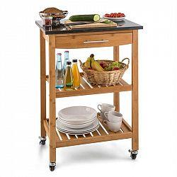 Klarstein Tennessee, kuchyňský servírovací vozík, 3 patra, bambus, žula