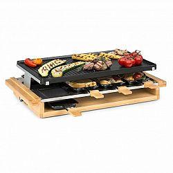 Klarstein Tournedo, raclette, 1200 W, litý hliník, 8 osob, dřevěný dekor