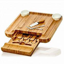 Klarstein XXL deska na sýr se zásuvkou na příbory, 34 × 4,5 × 34 cm (Š × V × H), příbor na sýr, jednoduchá údržba